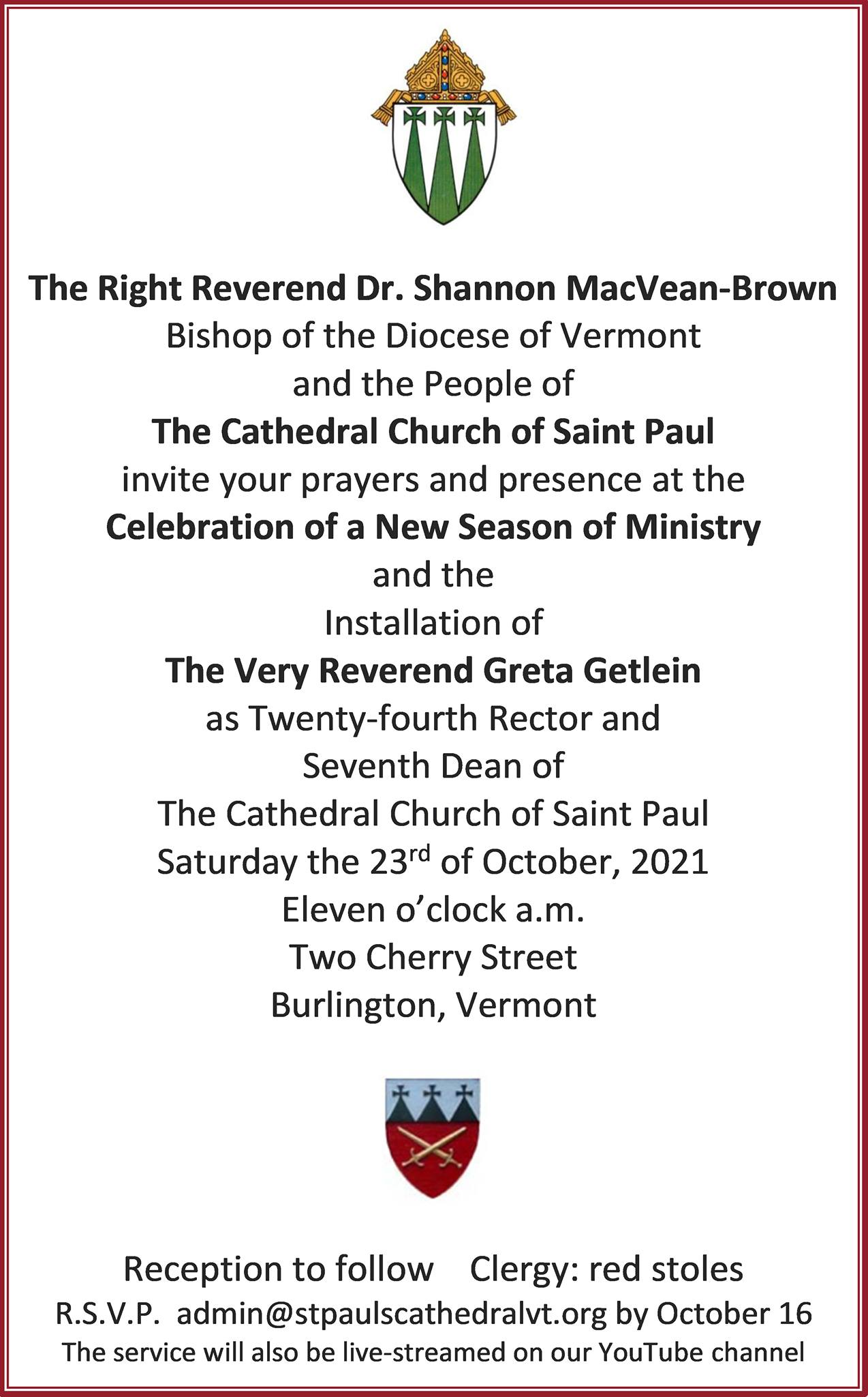 Installation of the Very Rev. Greta Getlein as Dean and Rector Cathedral Church of St. Paul